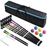 DealKits [6 Players] Croquet Set for Families with Carrying Bag for Yard Outdoor Lawn Backyard Games for Kids Adults All…