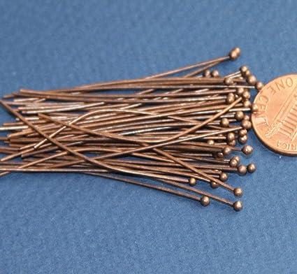 2 inch Long Bulk 200 pcs of Antique Copper Ball end Head pin 22 Gauge with 2mm Ball
