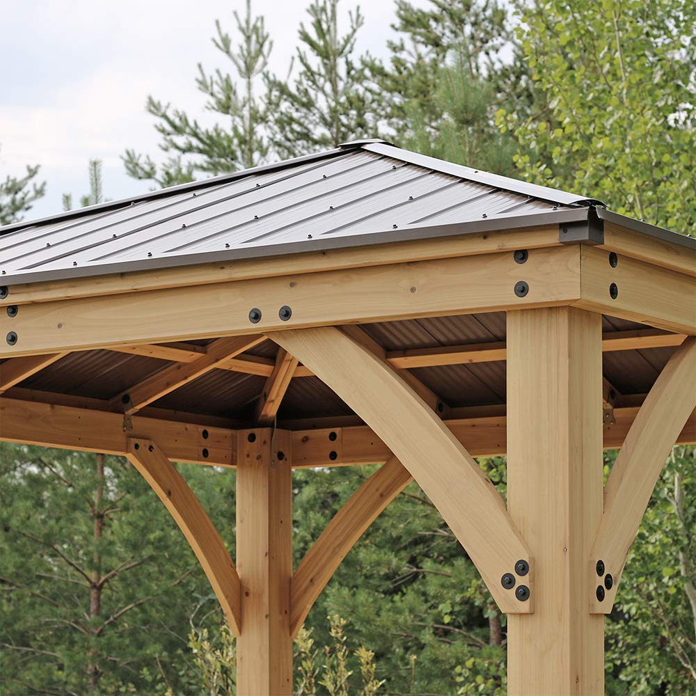 Yardistry 10' x 10' Wood Gazebo with Aluminum Roof - Home ...