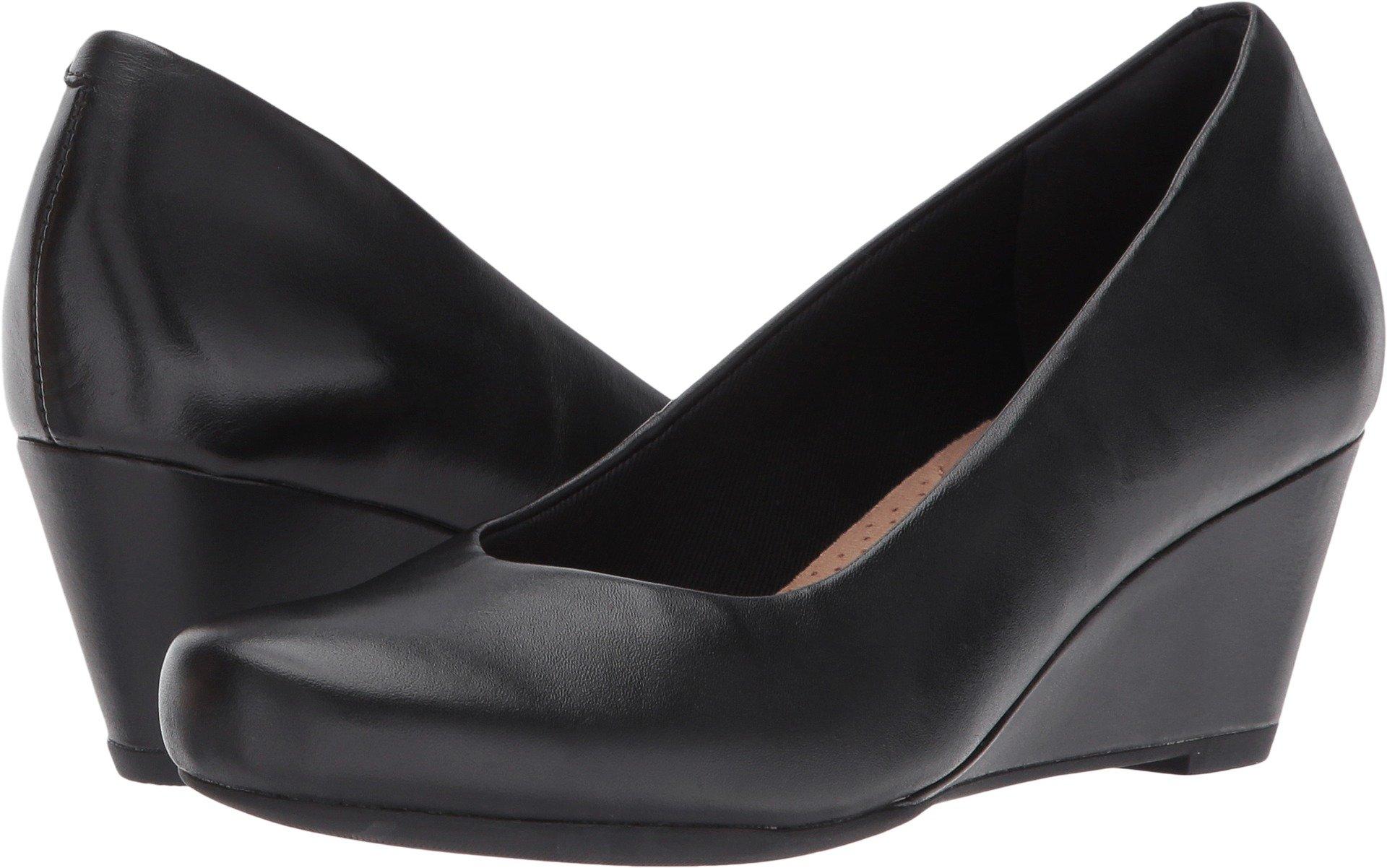 Clarks Women's Flores Tulip Wedge Pump,Black Leather,6.5 M US