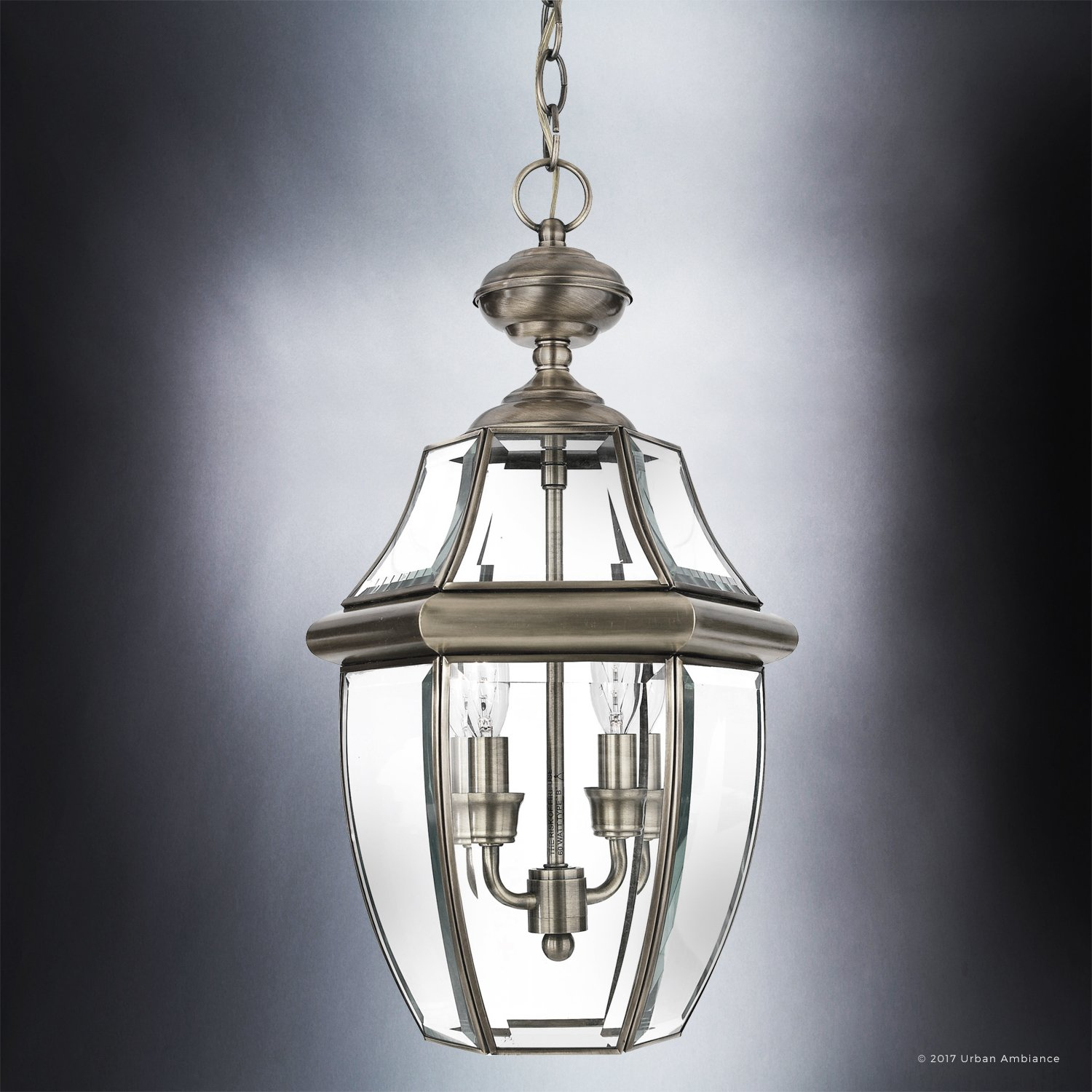 Luxury Colonial Outdoor Pendant Light, Large Size: 19''H x 11''W, with Tudor Style Elements, Versatile Design, Classy Aged Silver Finish and Beveled Glass, UQL1158 by Urban Ambiance by Urban Ambiance (Image #4)