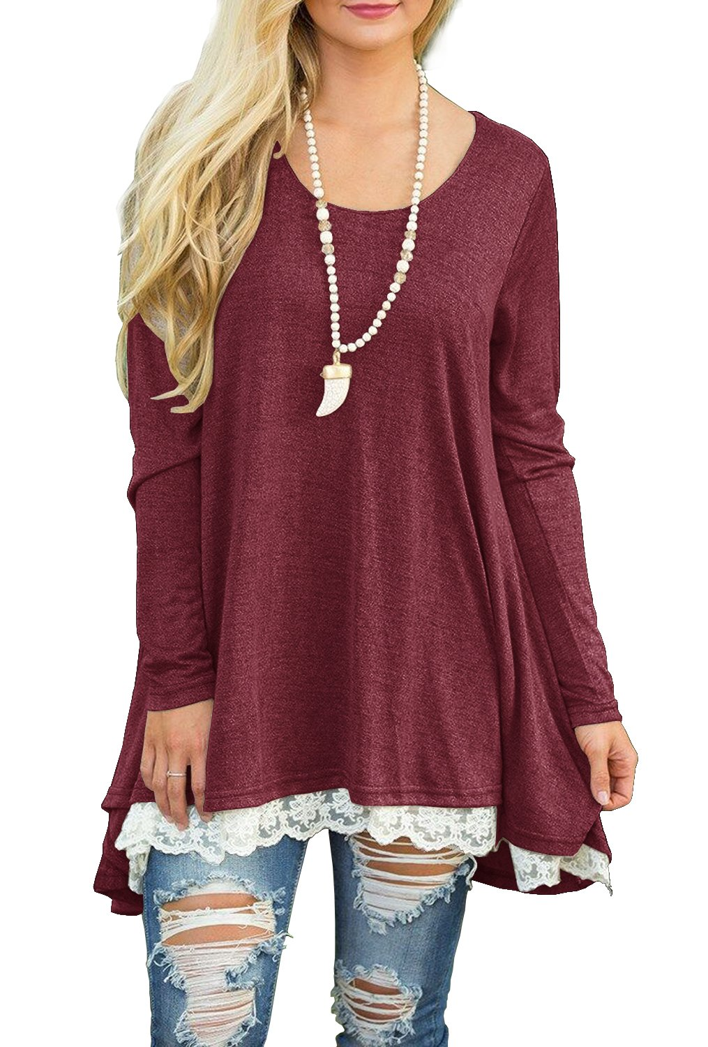 QIXING Women's Lace Long Sleeve Tunic Top Blouse Wine Red-S