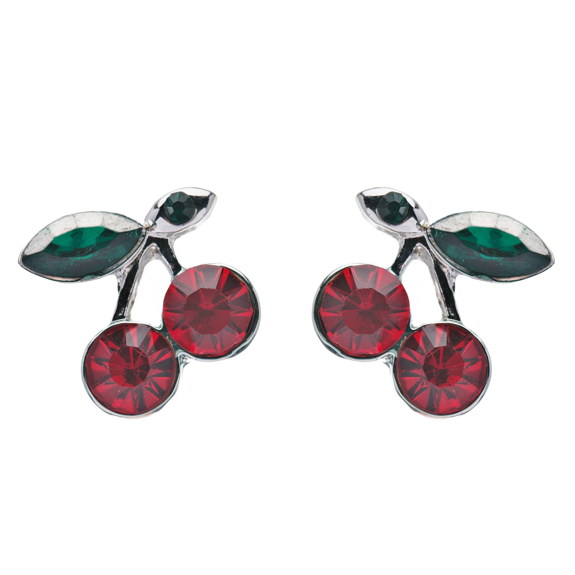 ACCESSORIESFOREVER Adorable Cute Cherry Fruit Charm Stud Style Rhinestone Fashion Earrings E490