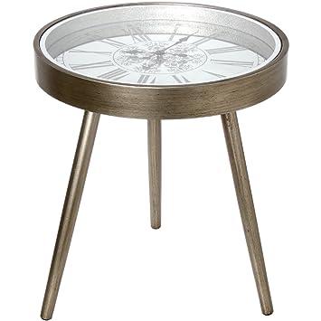Amazonde Donregaloweb Beistelltisch Tisch Rund Mit Uhr Aus