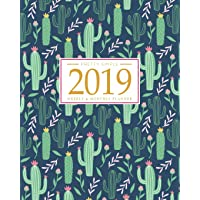 2019 Planner Weekly And Monthly: Calendar Schedule + Organizer | Inspirational Quotes And Fancy Cactus Cover | January 2019 through December 2019