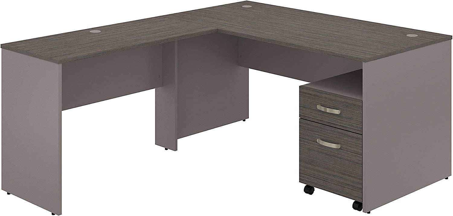 Bush Furniture Commerce 60W L Shaped Desk with Mobile File Cabinet in Cocoa and Pewter
