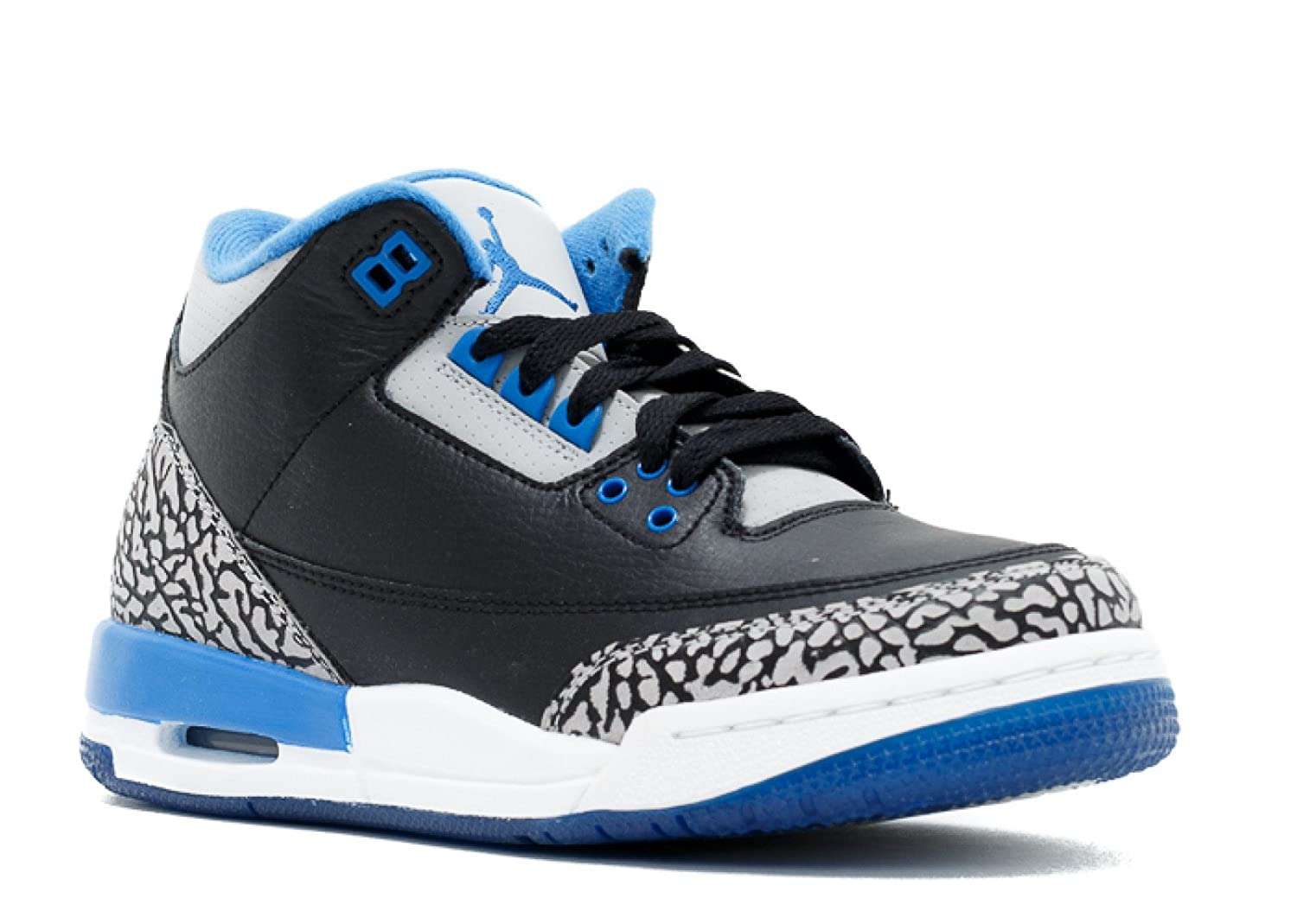 Amazon.com: Jordan Air 3 Retro BG Big Kids Shoes Black/Sport Blue-Wolf Grey 398614-007: Shoes