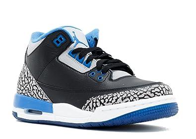 5518e4503d05ca Jordan Air 3 Retro BG Big Kids Shoes Black Sport Blue-Wolf Grey 398614