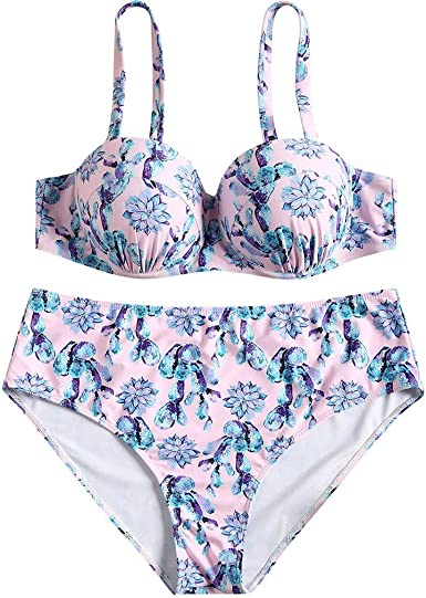 Women Print Push-Up Padded Bra Beach Bikini Set Swimsuit Beachwear Swimwear