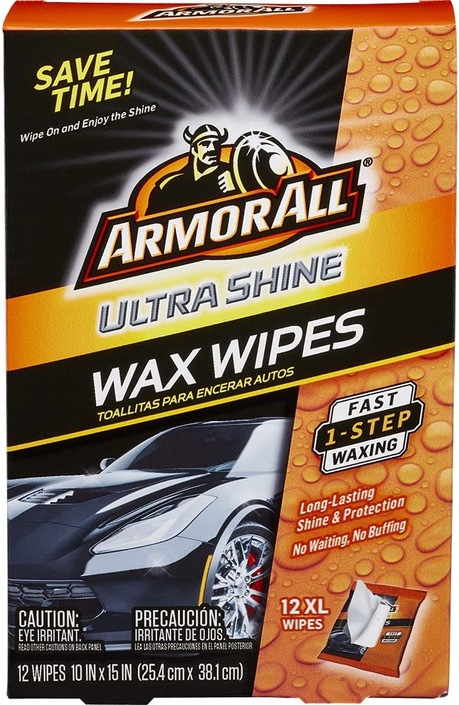 Armor All Car Wax Wipes - Interior Cleaner for Cars & Truck & Motorcycle, Ultra Shine, 12 Count, 18239