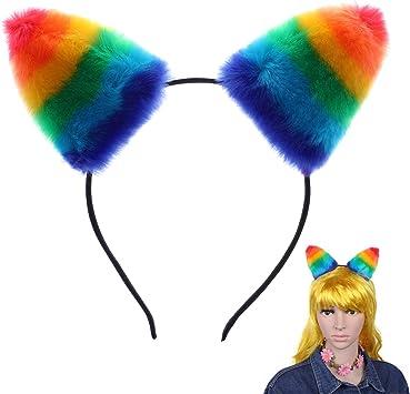 Rainbow Ears And Long Tail Luxury Fur Animal Fancy Dress Rainbow Costume Set