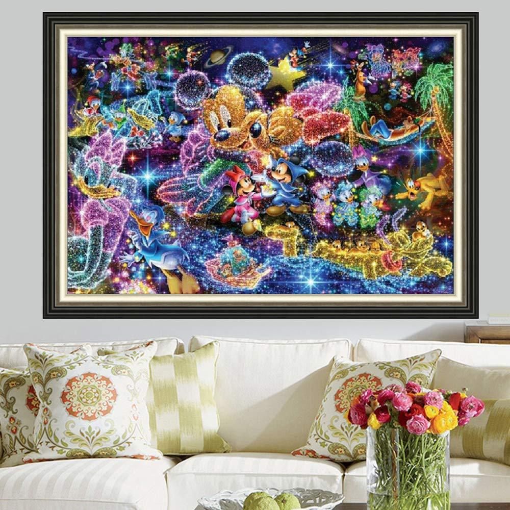 WAITATA Unicorn DIY 5D Diamond Painting by Number Kit, Cartoon Crystal Rhinestone Embroidery Cross Stitch Arts Craft Canvas Wall Decor Full Diamond (30X40cm) (Mickey Mouse, 30X40cm)