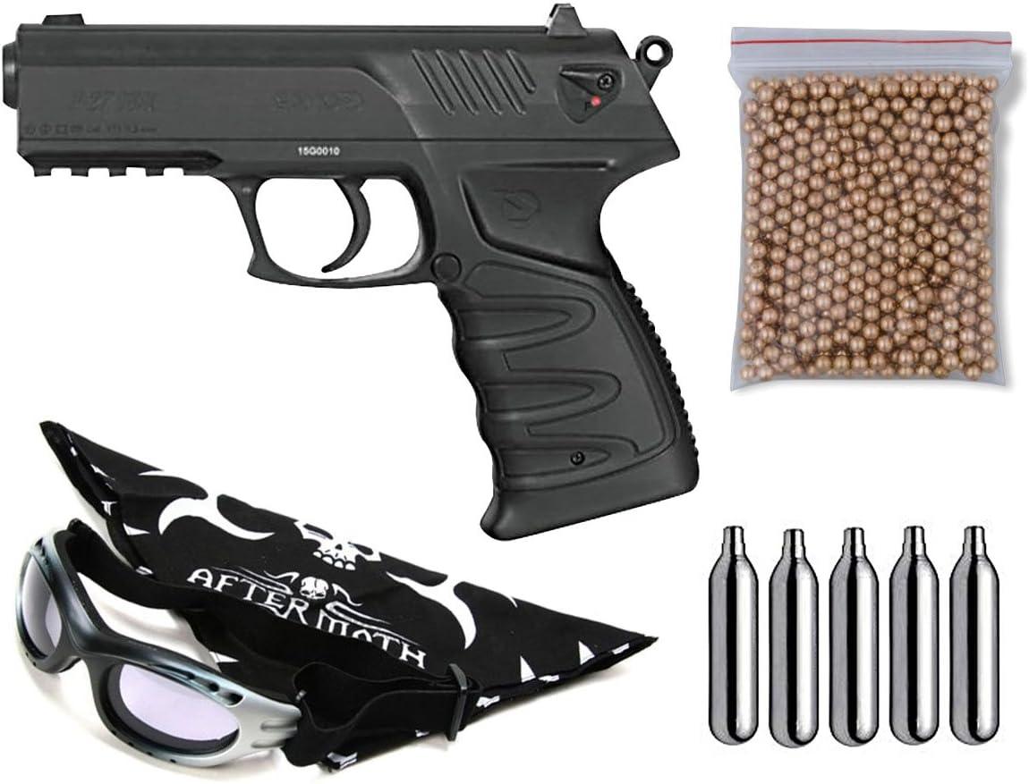Outletdelocio Pack Pistola Perdigón Gamo P-27 Dual. Calibre 4,5mm. Potencia 2,5 Julios + Gafas antivaho + Pañuelo Cabeza Decorado, Balines + Bombonas co2