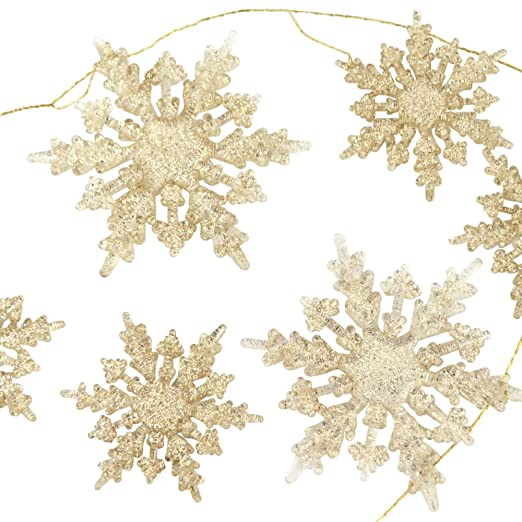 Christmas Tablescape Decor - Winter wonderland champagne gold acrylic glitter snowflake garland