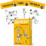 EXERCISE CARDS BODYWEIGHT Home Gym Workout Personal Trainer Fitness Program Guide Tones Core Ab Legs Glutes Chest Bicepts Total Upper Body Workouts Calisthenics Training Routine