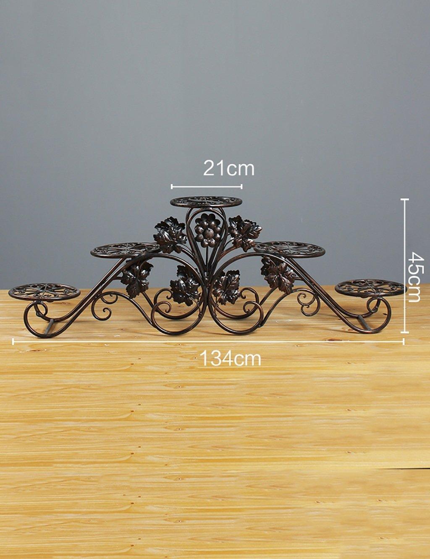 Blumenregal Bügelfußboden 5-lagiges Blumentopfgestell Europäische einfache Innen-und Außenbereich Pflanzen Bonsai Regale ( farbe : Messing , größe : 134cm*45cm )