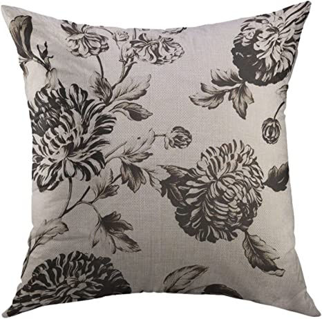 Mugod Pillow Cases Pretty Antique White Black Botanical Floral Toile No Flowers Throw Pillow Cover For Men Women Boys Cushion Cover 20x20 Inch Home Kitchen