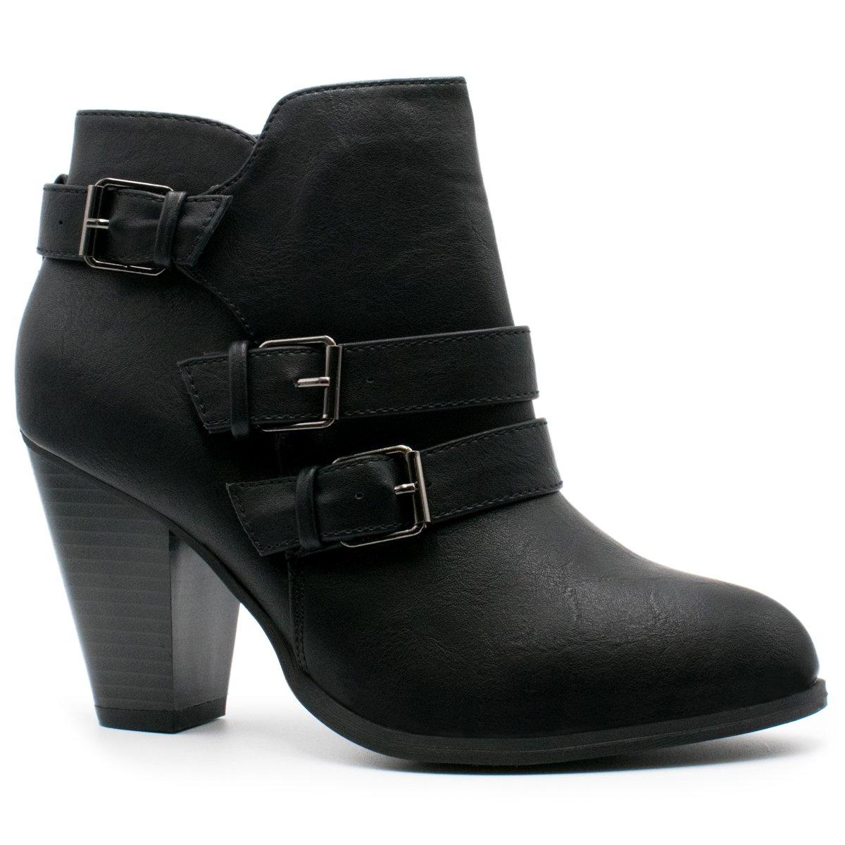Premier Standard - Women's Buckle Strap Block Heel Ankle Booties, TPS Camila-64 v4 Black Size 8
