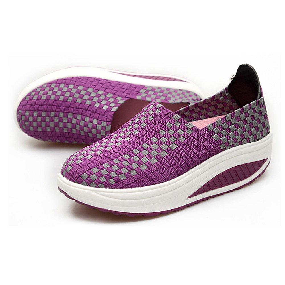 Konfor Women's Lightweight Woven Shape Ups Sneaker Fitness Work Out Slip-on Shoes B074B8YWPP 8 B(M) US = EU39|Purple