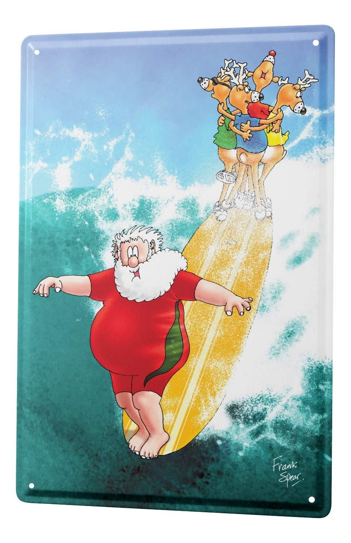 Cartel Letrero de Chapa Dibujos Animados Santa Surf: Amazon ...