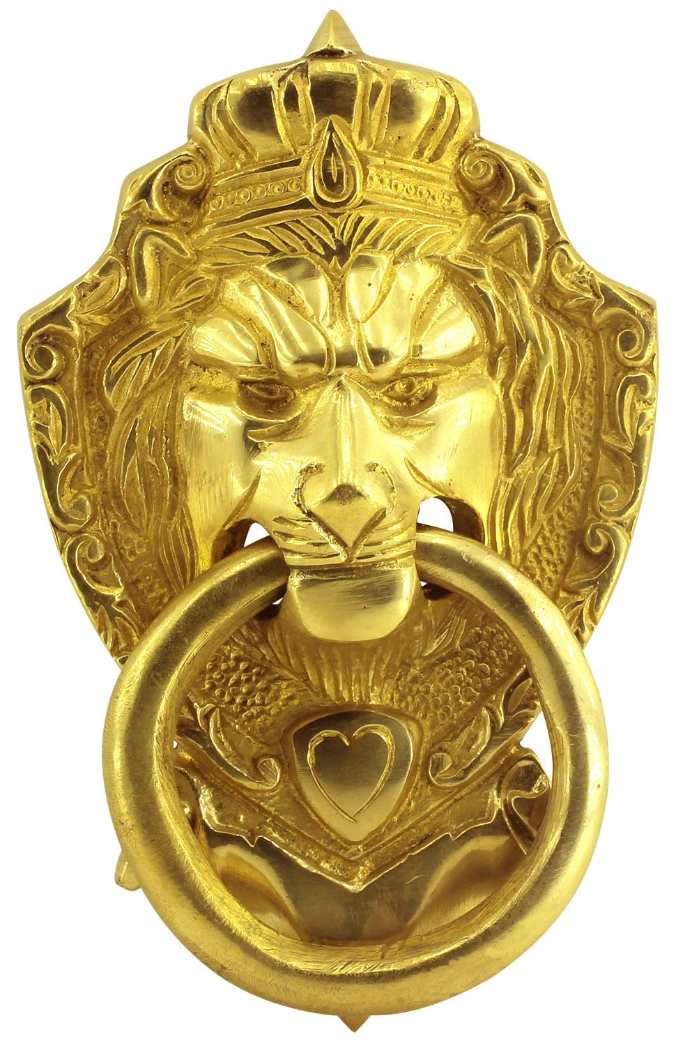 Today Sale on Crafkart King Lion Face Design Brass Door Knocker for Front Door | Vintage Style Pull Door Ring Handleset | Polished Brass by Crafkart (Image #1)