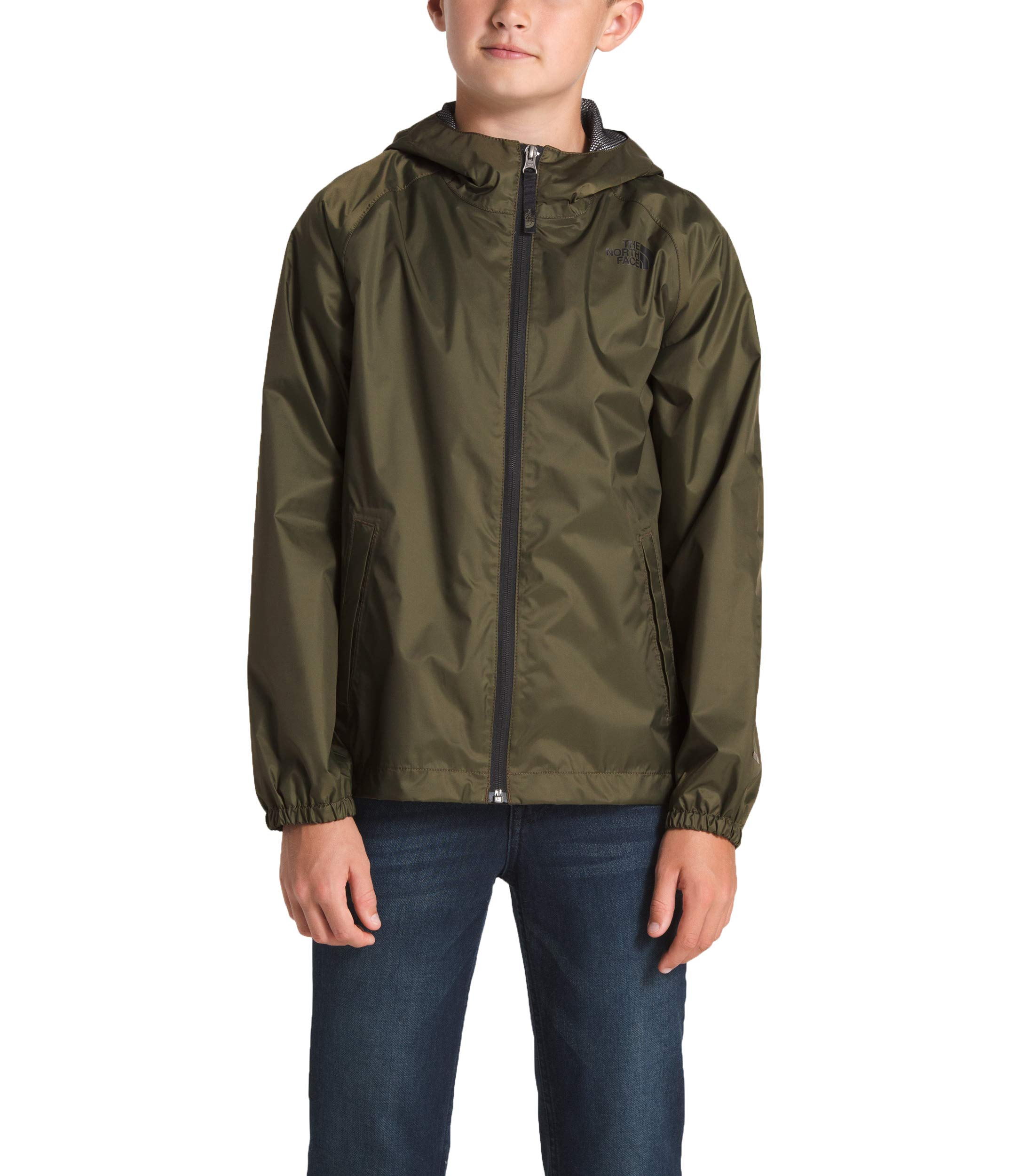 The North Face Boy's Zipline Rain Jacket, New Taupe Green, Size L by The North Face