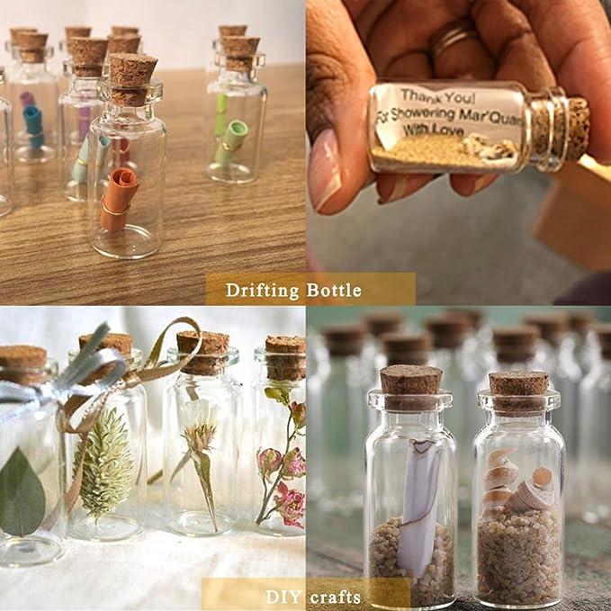 Pulluo 50+2pcs Mini Botellas de Cristal 5 ml Botes de Cristal con Tapón de Corcho Botellas de Vidrio con 30 m Cuerda Tornillos de Ojo Botella de Mensaje ...