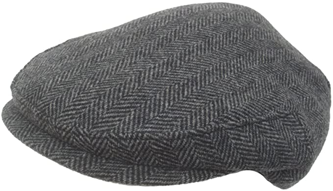 1b389a56c Headchange Made in USA 100% Wool Ivy Scally Cap Black Herringbone Driver Hat