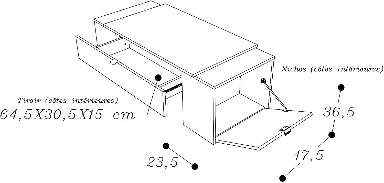 Berlioz Creations Becky Table Basse Panneaux de Particules Ch/êne Cendr/é//Blanc Brillant 123 x 55 x 42 cm