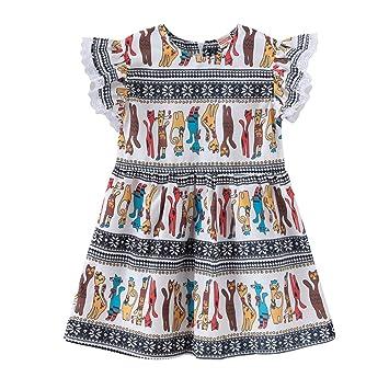 DINOSAUR cream cotton girls A-Line summer dress 2-3 3-4 4-5 5-6 6-7 7-8 8-9 9-10