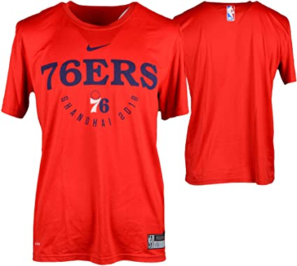 f7eab407409 Joel Embiid Philadelphia 76ers Player-Worn  21 Red Short Sleeve Shirt vs.  Dallas