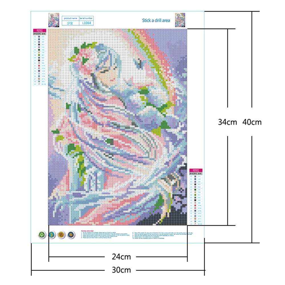 DCIDBEI DIY 5d Diamond Painting Crystal Kits,Flower Fairy Painting Diamonds Full Drill,Rhinestone Embroidery Cross Stitch Kits Supply Arts Craft Canvas Wall Decor Stickers Home Decor 30x40 cm