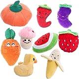UEETEK 9pcs Dog Squeaky Toys Frutta e verdura Pet peluche da masticare per cucciolo Piccoli cani