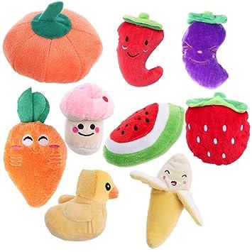 ueetek perro de peluche sonidos Juguetes Frutas y Verduras mascota interactiva juguete 9 unidades: Amazon.es: Productos para mascotas