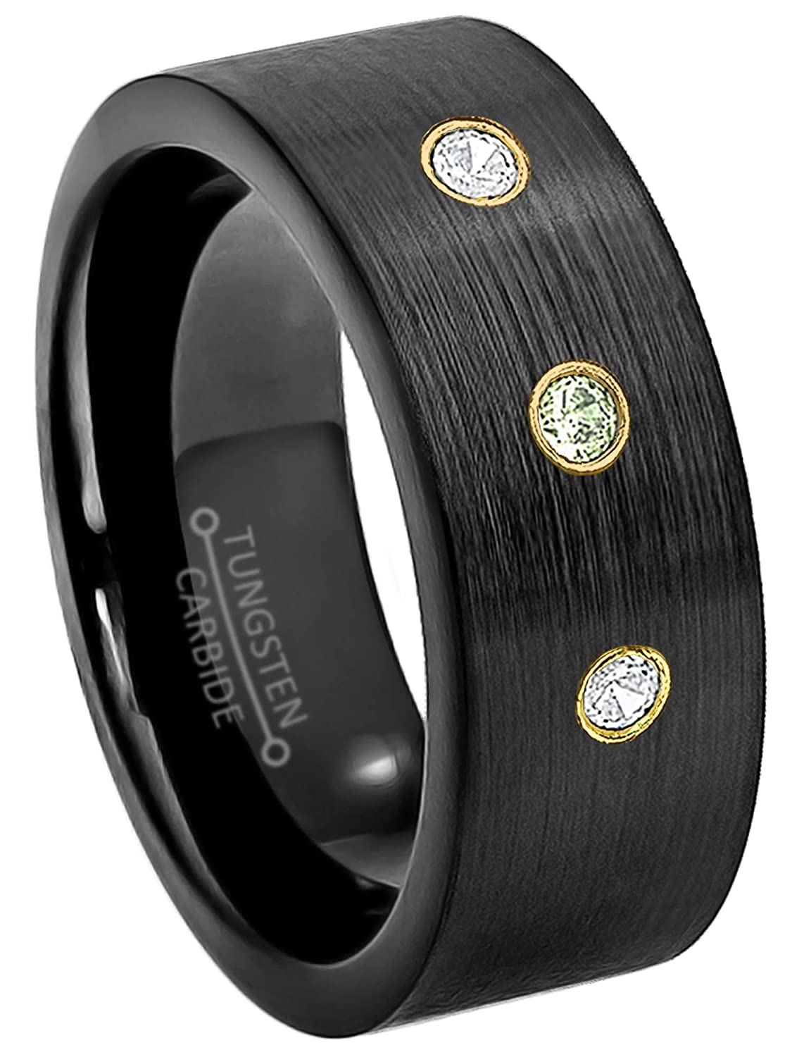 0.21ctw Peridot /& Diamond 3-Stone Anniversary Band 9mm Brushed Finish Black IP Comfort Fit Pipe Cut Tungsten Carbide Ring Tungsten Wedding Ring August Birthstone Ring
