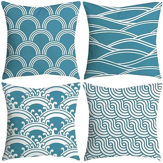 VJGOAL impresión de Moda hogar Decorativo Suave sofá cómodo Cojín Cuadrado Funda de Almohada 4 Piezas Conjunto(45_x_45_cm,Multicolor9)