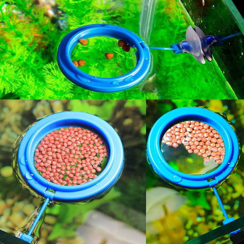 XEOGUIYA Floating Feeder Ring, Aquarium Fish Feeding Ring Floating Food Circle with Suction Cup