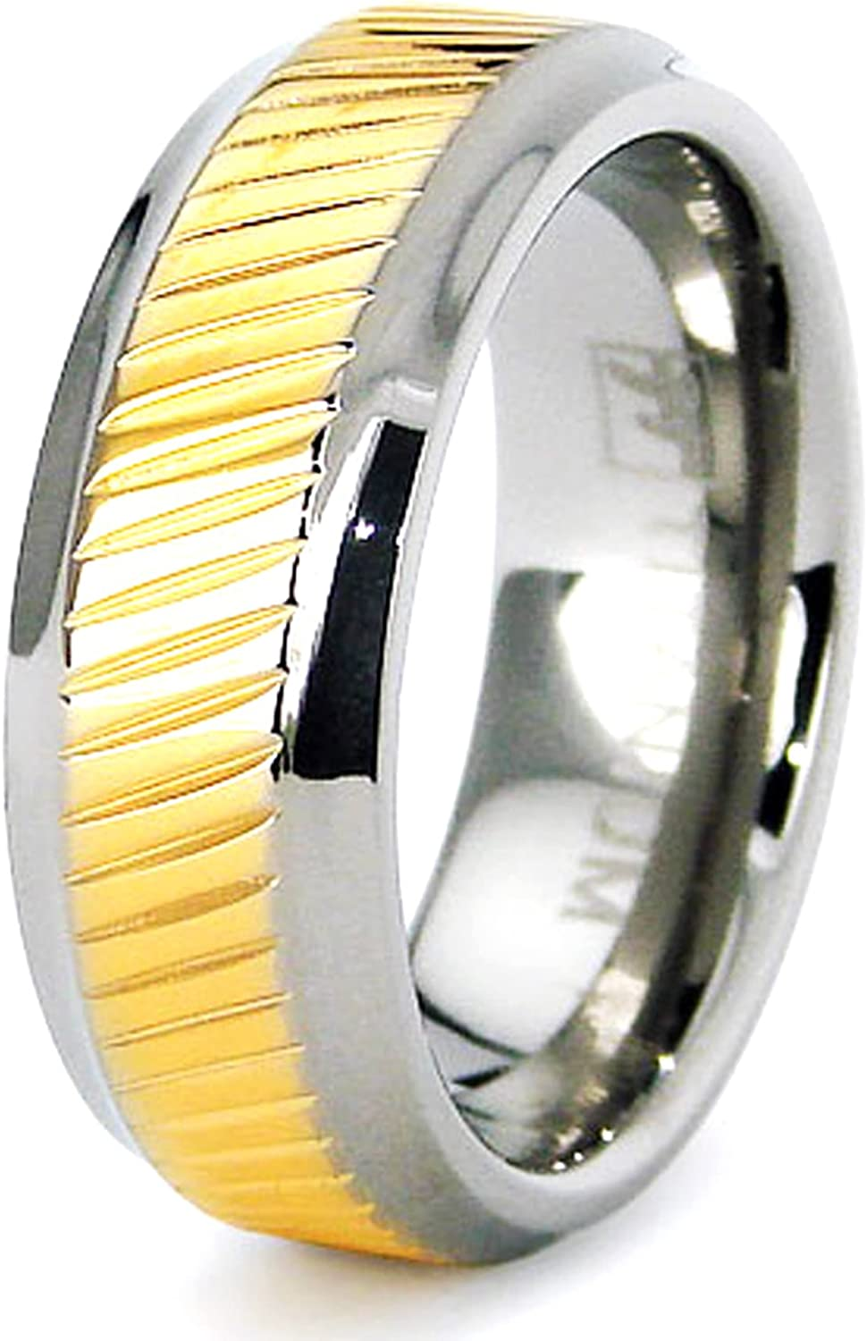 WEDDING BAND STAINLESS STEEL MILGRAIN RING ETERNITY CZ COMFORT FIT TWO-TONE 7mm