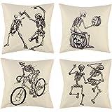 peony man Halloween Skull Pillow Covers, Skull and Pumpkin Throw Pillowcase Skeleton Cotton Linen Pillow Cushion Cover…