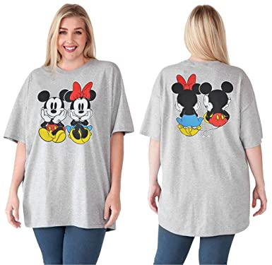 08c93788 Image Unavailable. Image not available for. Color: Disney Womens Plus Size T -Shirt Mickey & Minnie Mouse Print Grey ...