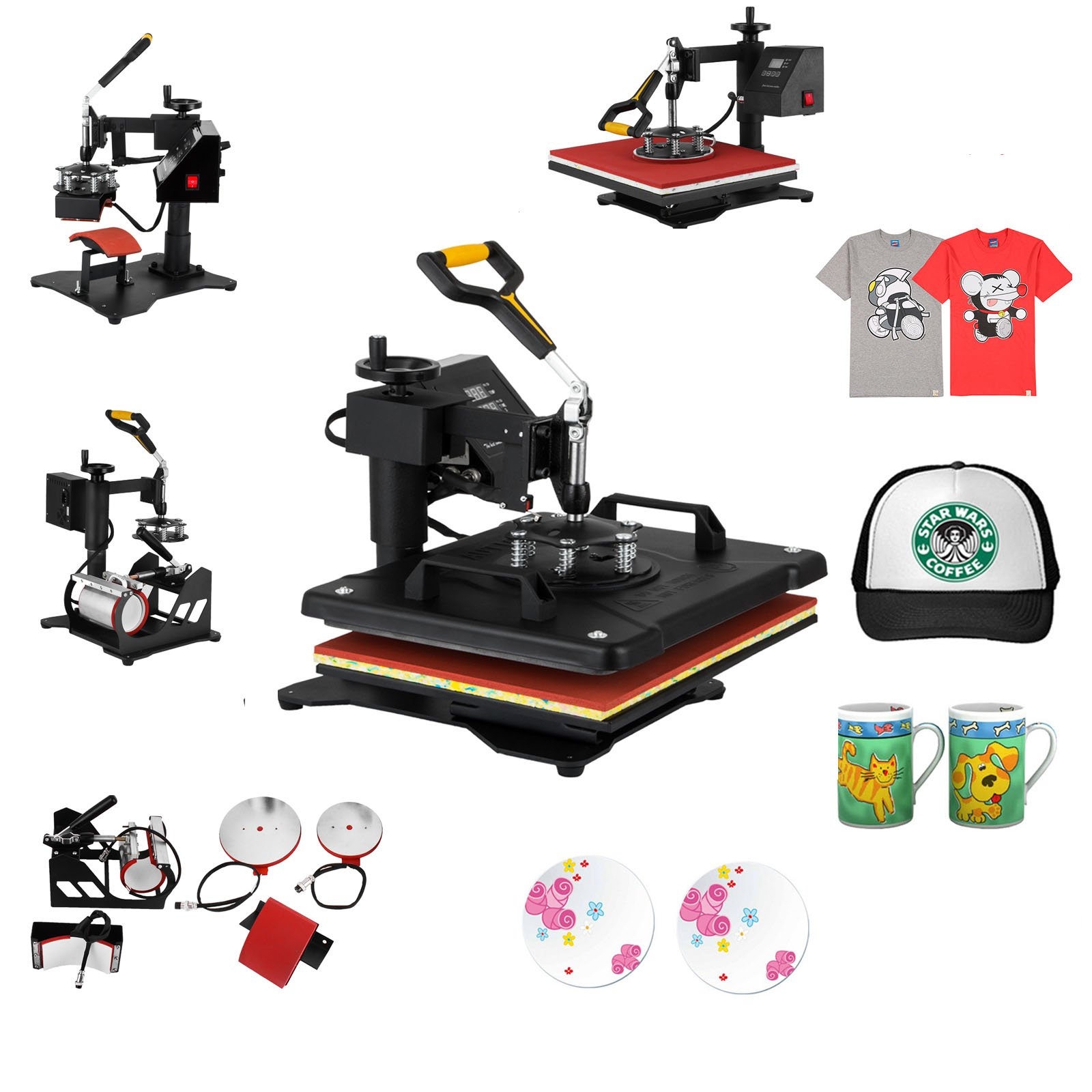 Mophorn Heat Press 12 X 15 Inch 5 in 1 Desktop Iron Baseball Hat Press Dual Digital Transfer Sublimation Multifunction Heat Press Machine Swing Away Design (12 by 15 Inch 5 in 1) by Mophorn