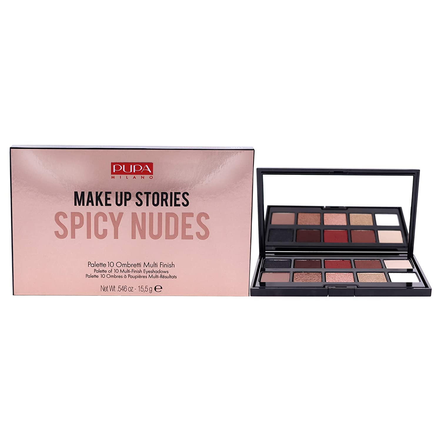 Pupa Milano Make Up Stories Eyeshadow Palette – Palette Of 10 Eyeshadows – For a Bold, Sparkling, Nude Look – Extraordinary Coverage and Perfect Adherence – 001 Spicy Nude – 0.546 Oz