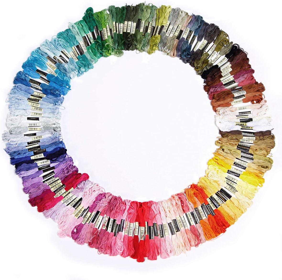 Surtido de 100 Hilos de Coser de Color para Bordados de Punto de Cruz Pulseras de Punto Set de 50 Madejas de Hilos para Punto de Cruz Manualidades