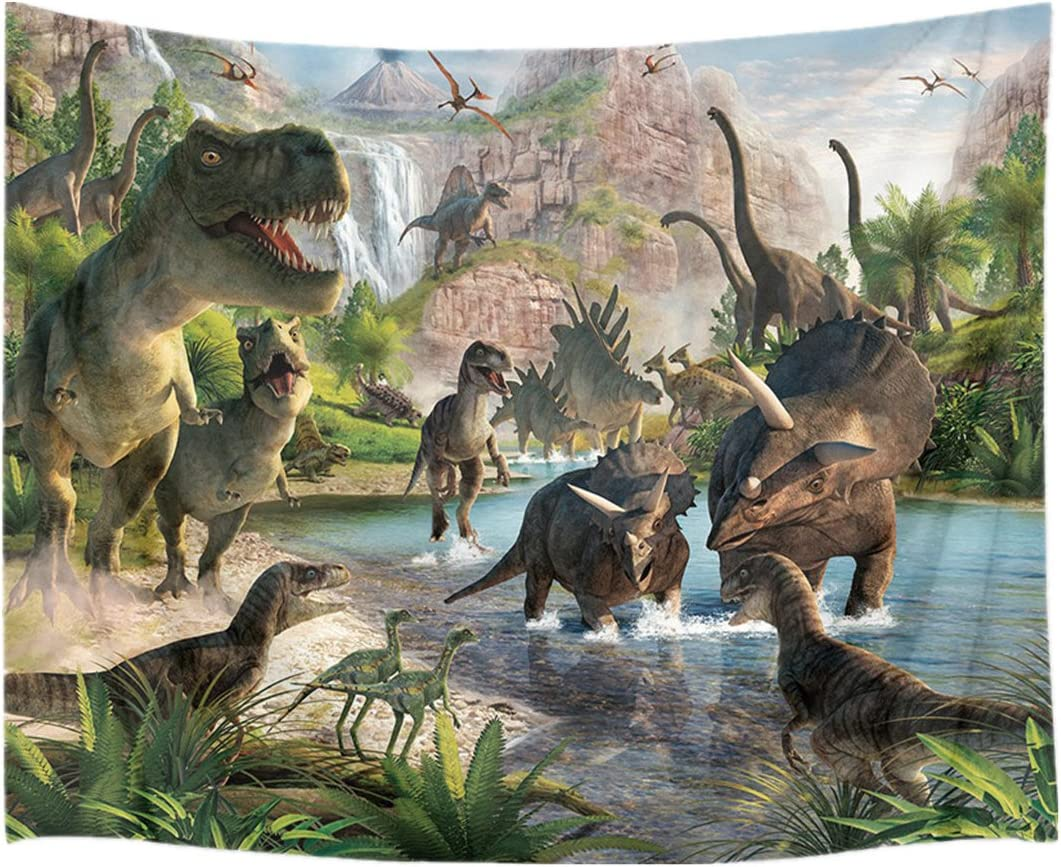 HVEST Jurassic Dinosaur Tapestry Wild Ancient Predator Animal Backdrop Tapestry Wall Hanging Green Trees and Mountain Nature Wall Decor for Bedroom Living Room Dorm Party Supplies,80Wx60H inches