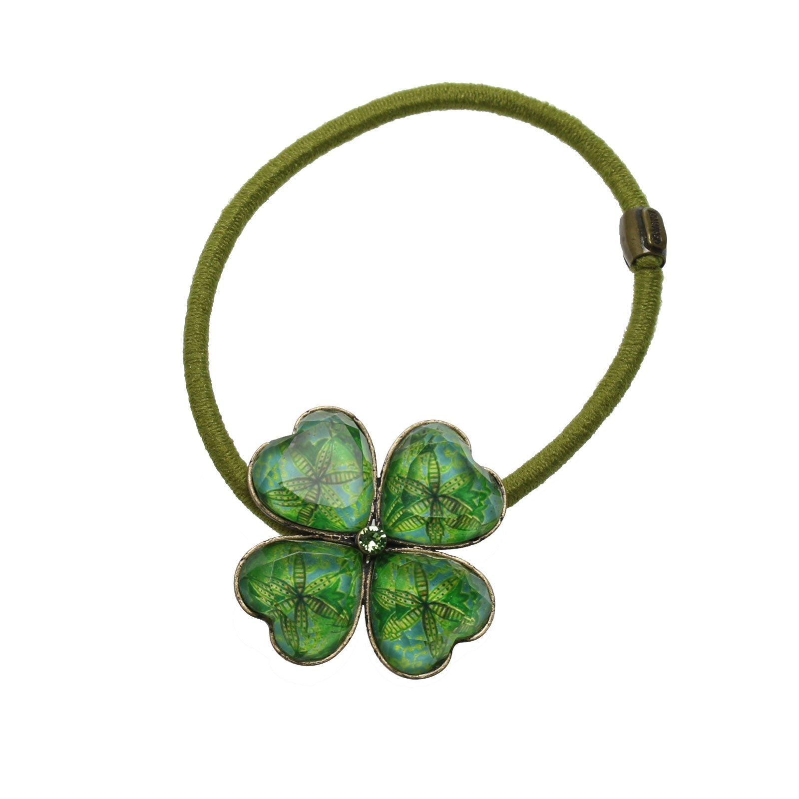 Tamarusan Green Lily Pattern Ponytail Holder Hand Made Nickel Free