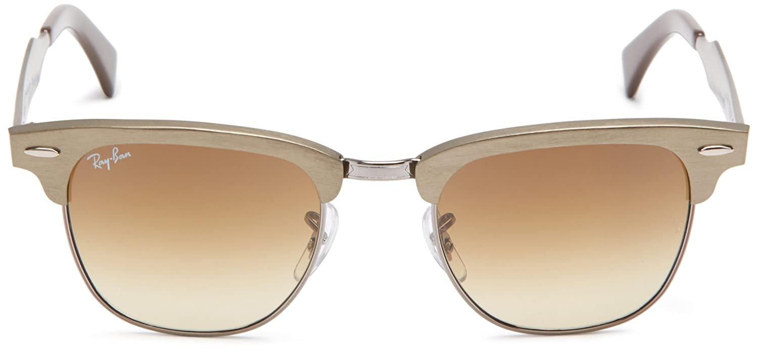 1ee4dd624b Ray-Ban CLUBMASTER ALUMINUM - BRUSHED BRONZE GUNMETAL Frame LIGHT BROWN  Lenses 51mm Non-Polarized  Ray-Ban  Amazon.in  Clothing   Accessories