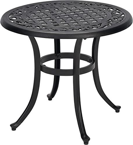 Laurel Canyon Metal Outdoor 23.8 Cast Aluminum Small Round Side Anti-Rust Patio Bistro Table for Balcony Garden Yard Lawn, Black