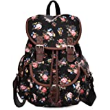 MoreChic Canvas Backpack Floral Printed Backpack School Bag for Teen Girls