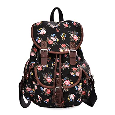 82c0347543 DGY Girl s Canvas Leather Trim School Backpack Cute Backpack Print Rucksack  163 Black