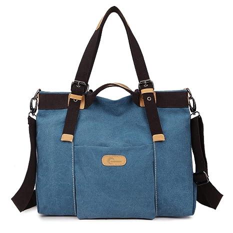 CHEREEKI Bolsos de mano para mujer, Bolso de Bandolera Totes Shopper Viajar Hobo de Lona para Compras, Informal y Trabajo -35CM * 28CM * 15CM (Azul)